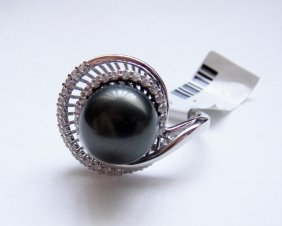 925 Sterling Silver, Black Pearl & CZ Ring