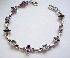 925 Sterling Silver, Natural Amethyst Gemstone Bracelet
