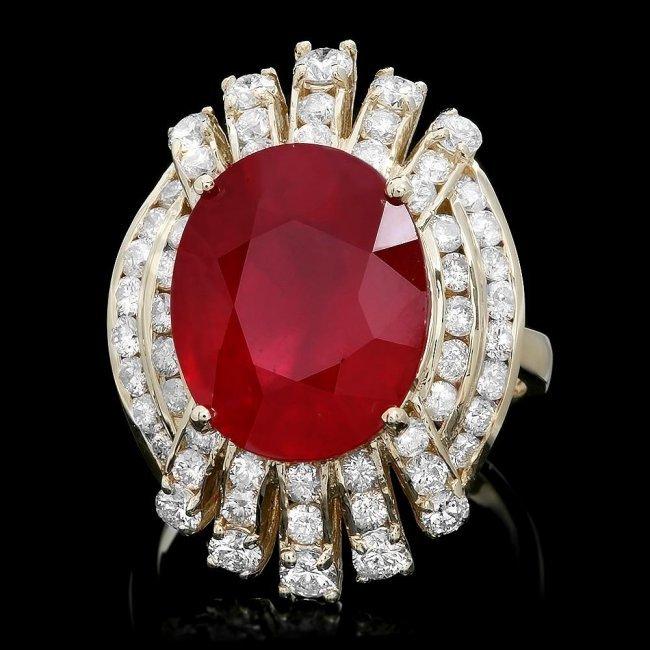1A: 14k Yellow Gold 10.00ct Ruby 2.00ct Diamond Ring