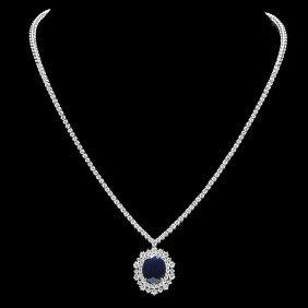 2A: 18k Gold 6ct Sapphire 5ct Diamond Necklace