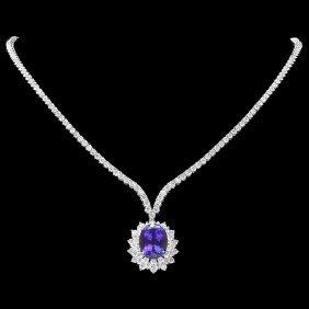 4: 18k Gold 10ct Tanzanite 7.6ct Diamond Necklace