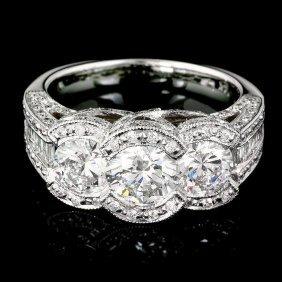 5: 14k White Gold 2.2ct Diamond Pave Engagement Ring