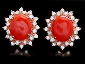 14k Rose Gold 6ct Coral 1.40ct Diamond Earrings