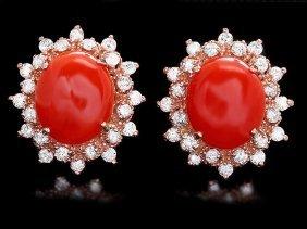 7: 14k Rose Gold 6ct Coral 1.40ct Diamond Earrings