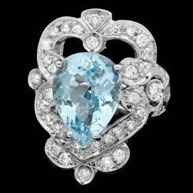 8: 14k Gold 5.50ct Aquamarine 1.15ct Diamond Ring