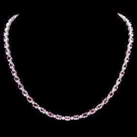12: 14k Gold 25ct Sapphire 1.20ct Diamond Necklace