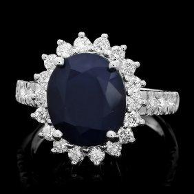 13: 14k Gold 5ct Sapphire 1ct Diamond Ring