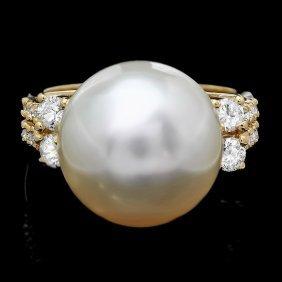 14: 14k Gold 14 X 16mm Pearl 0.60ct Diamond Ring