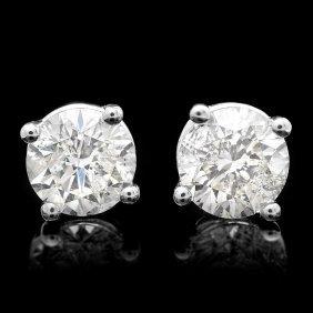 16: 14k White Gold 1.00ct Diamond Earrings
