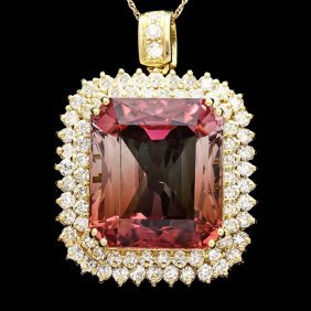 17: 18k Y Gold 43ct Tourmaline 3.35ct Diamond Pendant