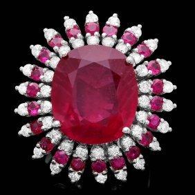 19: 14k White Gold 16.6ct Ruby 1.60ct Diamond Ring