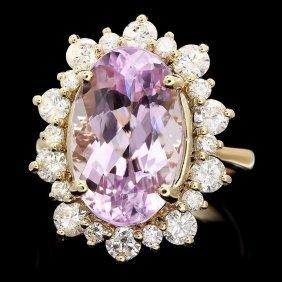 20: 14k Gold 10ct Kunzite 1.80ct Diamond Ring