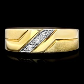 21: 14k Multi-Tone Gold 0.10ct Diamond Mens Ring