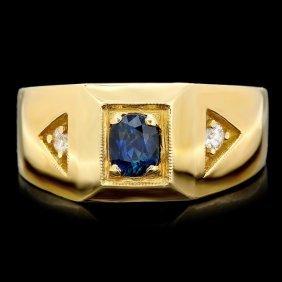 22: 14k Gold 0.75ct Sapphire 0.12ct Diamond Mens Ring