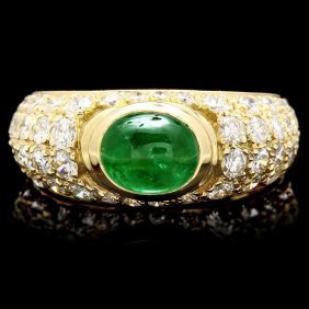 24: Yellow Gold 1.00ct Emerald 1.25ct Diamond Ring
