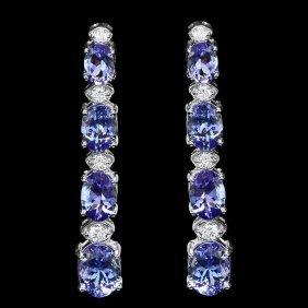 25: 14k Gold 6ct Tanzanite 0.45ct Diamond Earrings