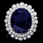 81 14k Gold 16ct Sapphire 160ct Diamond Ring
