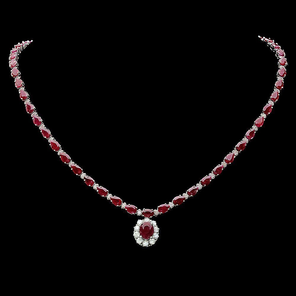 152: 14k White Gold 32ct Ruby 2.50ct Diamond Necklace