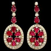 171 14k Gold 1550ct Ruby 3ct Diamond Earrings