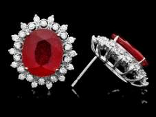 308 14k Gold 14ct Ruby 150ct Diamond Earrings