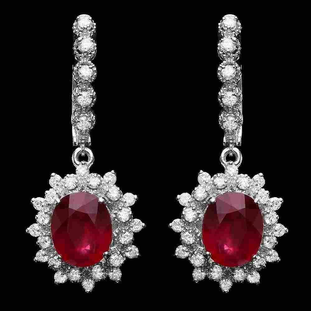 344: 14k Gold 8ct Ruby 1.50ct Diamond Earrings