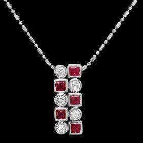 14k Gold 1ct Sapphire 0.50ct Diamond Pendant