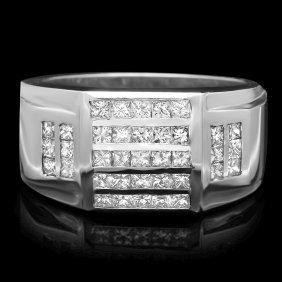 3: 14k White Gold 1.65ct Diamond Mens Ring