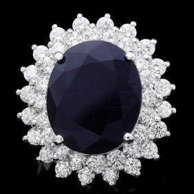 5: 14k Gold 11.50ct Sapphire 2.50ct Diamond Ring