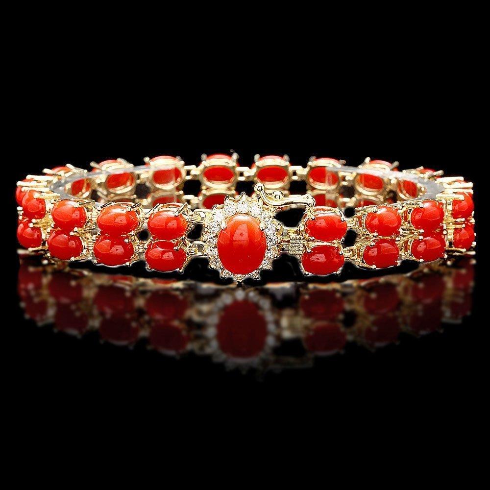75: 14k Gold 27ct Coral 0.70ct Diamond Bracelet