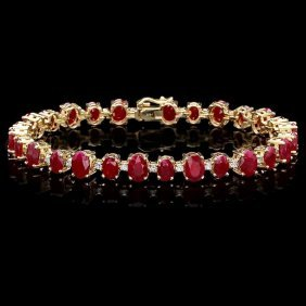 2RN: 14k Gold 21ct Ruby 0.90ct Diamond Bracelet