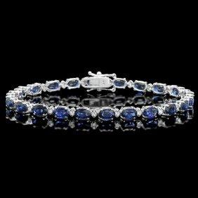 14k Gold 12ct Sapphire 0.50ct Diamond Bracelet