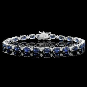 4RN: 14k Gold 12ct Sapphire 0.50ct Diamond Bracelet