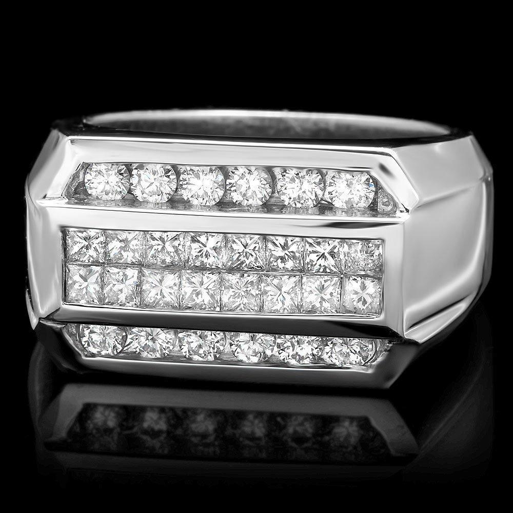 5RN: 14k White Gold 2ct Diamond Mens Ring