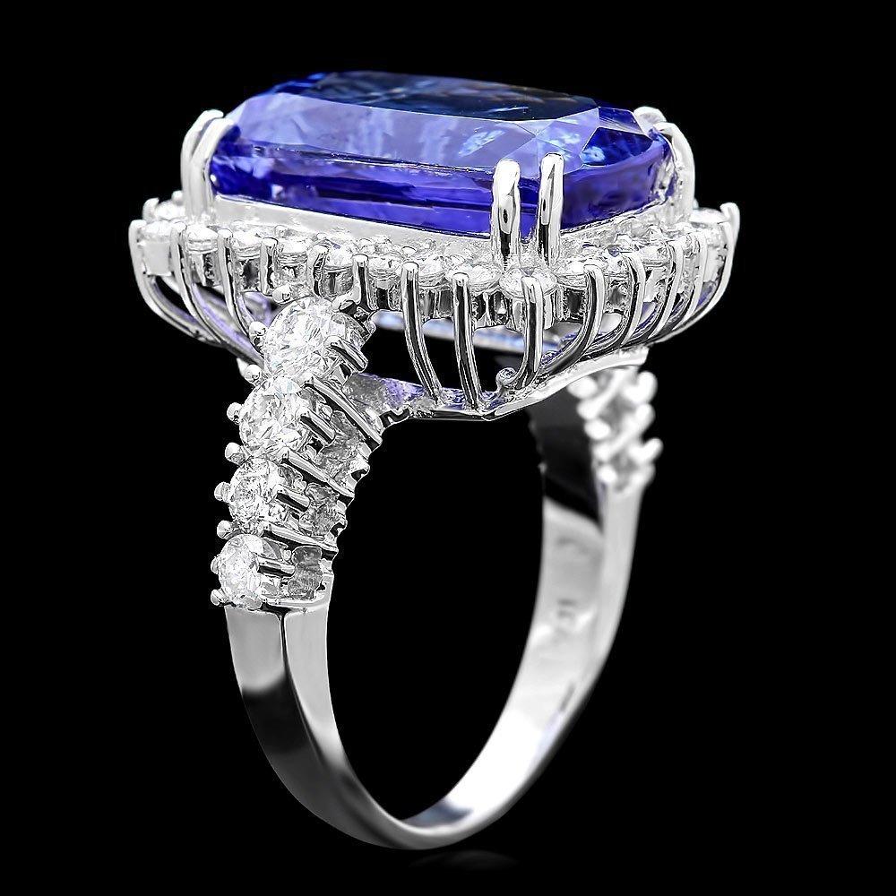 85RN: 18k Gold 11ct Tanzanite 1.80ct Diamond Ring - 2