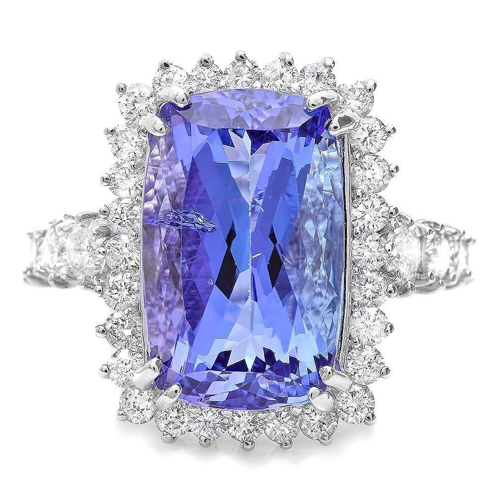 85RN: 18k Gold 11ct Tanzanite 1.80ct Diamond Ring - 3