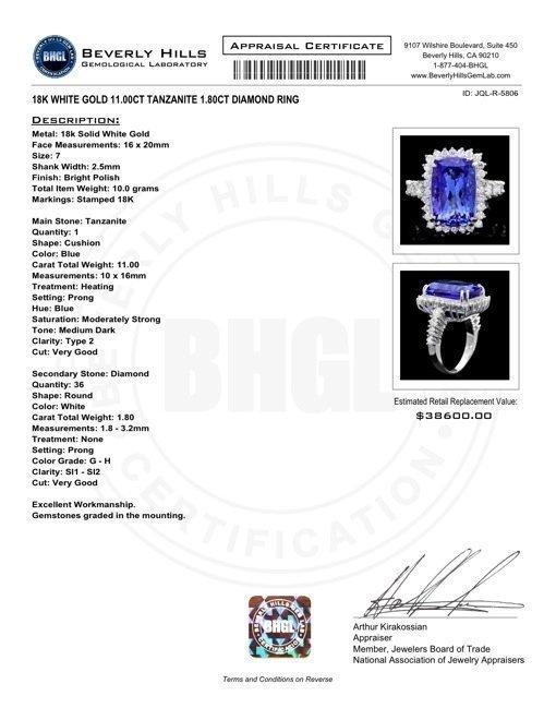 85RN: 18k Gold 11ct Tanzanite 1.80ct Diamond Ring - 4