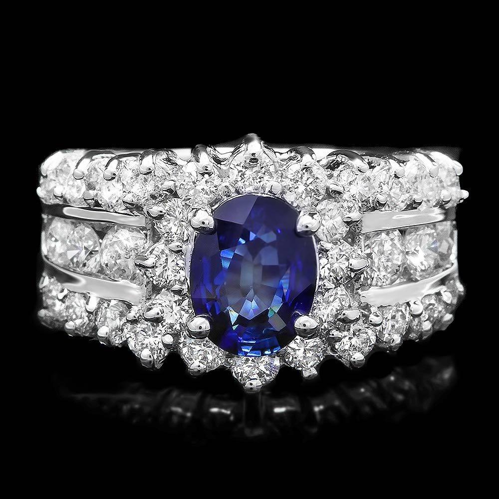14k Gold 1ct Sapphire 1.55ct Diamond Ring