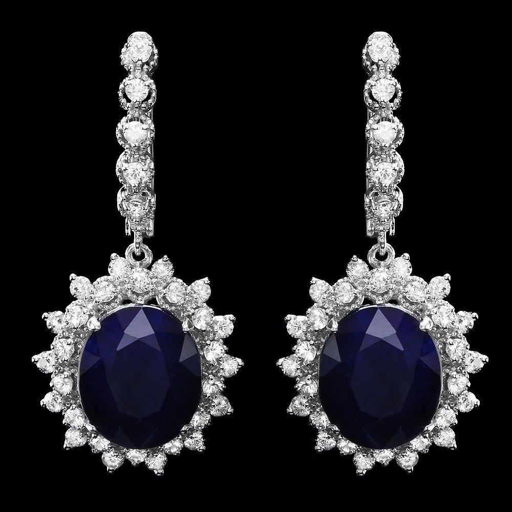 14k Gold 15ct Sapphire 2ct Diamond Earrings