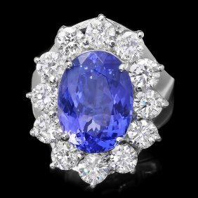 14k Gold 5.50ct Tanzanite 2.30ct Diamond Ring