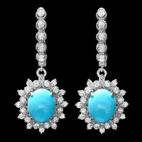14k Gold 5ct Turquoise 1.50ct Diamond Earrings