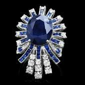 14k White Gold 11ct Sapphire 170ct Diamond Ring