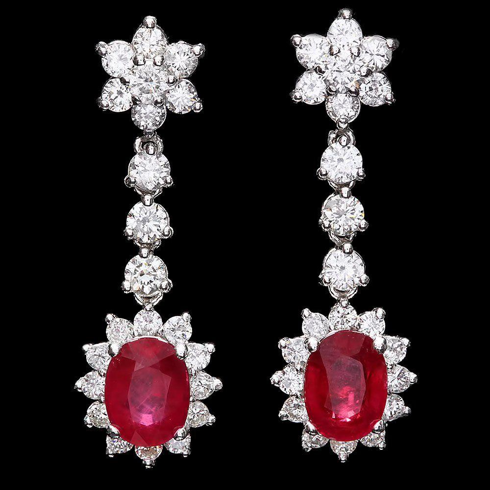 14k Gold 5ct Ruby 2.50ct Diamond Earrings