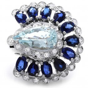 14k Gold 6ct Aquamarine 1.10ct Diamond Ring