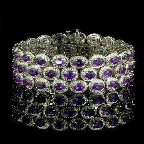 925 Sterling Silver, 50CT Natural Amethyst Bracelet