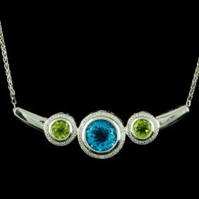 925 Sterling Silver, 16CT Topaz & Peridot Necklace