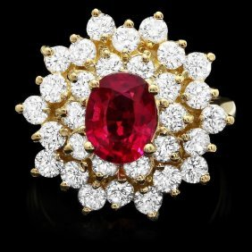 14KT Gold 1.50ct Tourmaline 2.10ct Diamond Ring