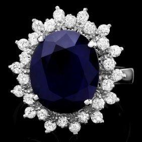 14k Gold 5ct Sapphire 0.80ct Diamond Ring