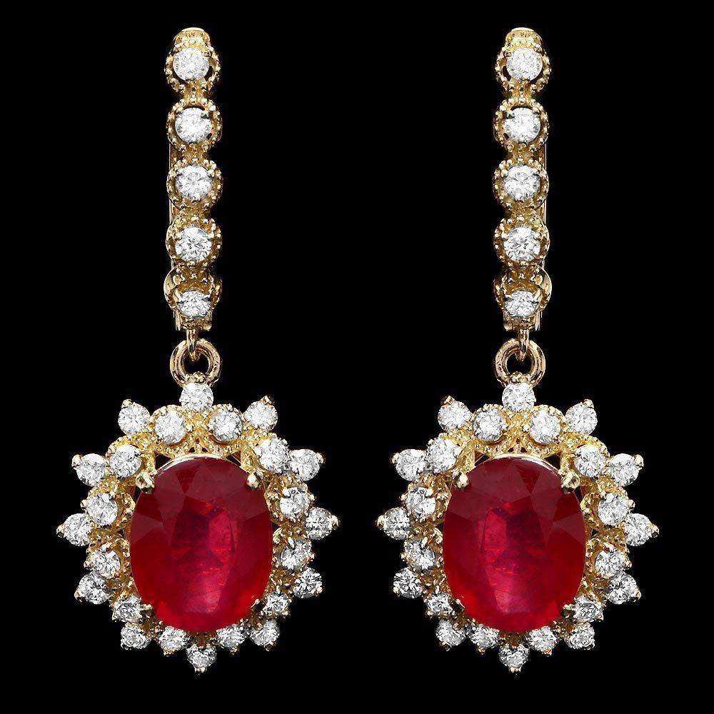 14KT Gold 8ct Ruby 1.60ct Diamond Earrings