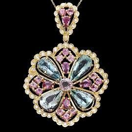 4R: 14k Gold Aqua Sapphire Spinnel Diamond Pendant