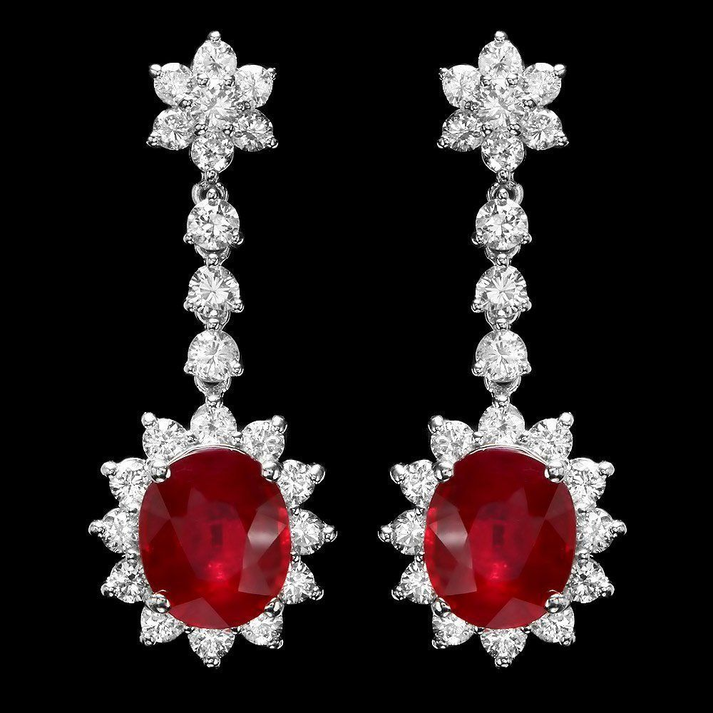 14k Gold 9ct Ruby 3ct Diamond Earrings